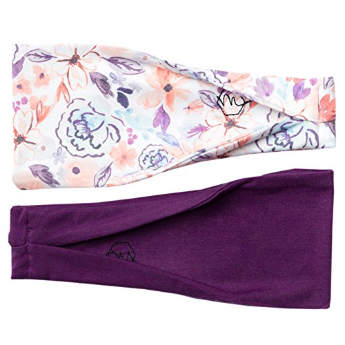 Maven Thread Womens Headband Yoga Running Exercise Sports Workout Athletic Gym Wide Sweat Wicking Stretchy No Slip 2 Pack Set Plum Purple Floral ASANA