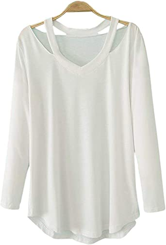Camisetas De Manga Larga Camiseta De Mujer Caída Simplemente Fuera Ropa De La Blusa De Hombro Escote En V Top Blusas De Camisa Lisa Básica: Amazon.es: Ropa y accesorios