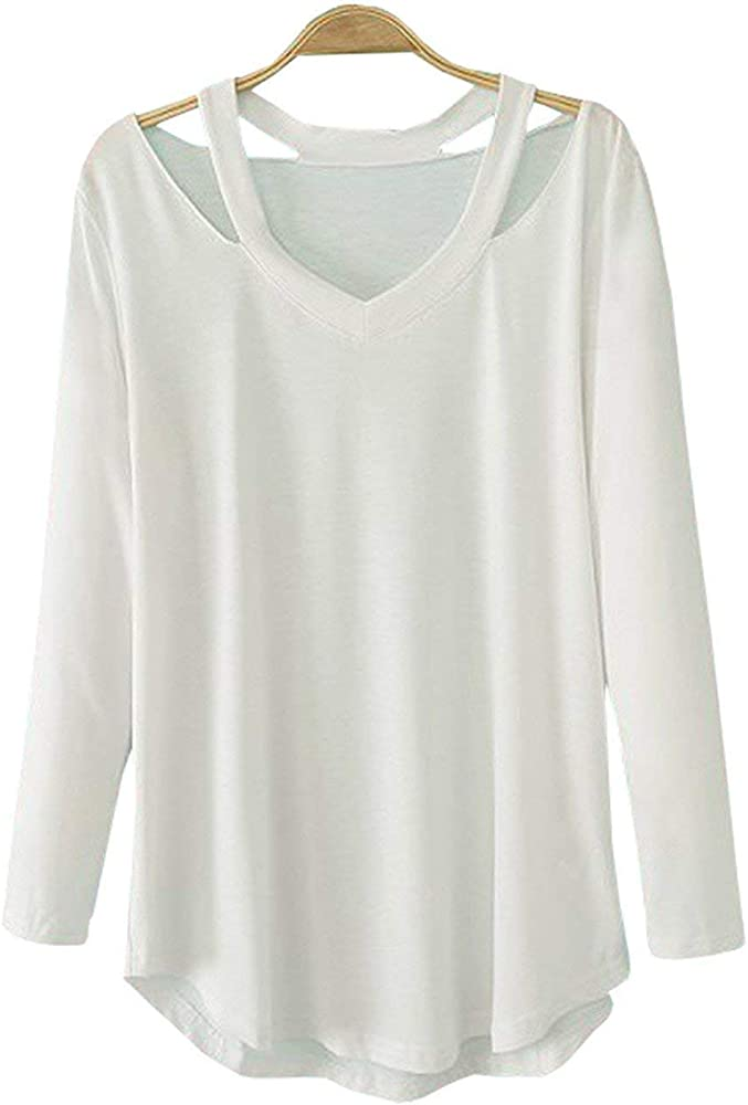 Camisetas Manga Larga Camiseta De Mujer Caída Simplemente Fuera De Retro La Blusa De Hombro Escote En V Top Blusas De Camisa Lisa Básica (Color : Blanco, Size : S): Amazon.es: Ropa
