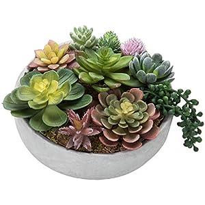 MyGift 8-Inch Artificial Succulent Plant Arrangement in Concrete Pot 5