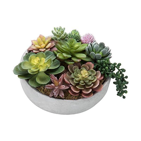 MyGift-8-Inch-Artificial-Succulent-Plant-Arrangement-in-Concrete-Pot