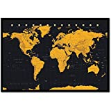 World map poster contemporary black grey style cork pin memo board world map in black gold poster cork pin memo board black framed 965 x gumiabroncs Image collections