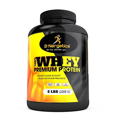 B-Nergetics 100% Whey Premium Protein Powder, Chocolate Extreme, 5lbs, 5.6g Bcaa, Boosts Lean Muscle Growth and Recovery