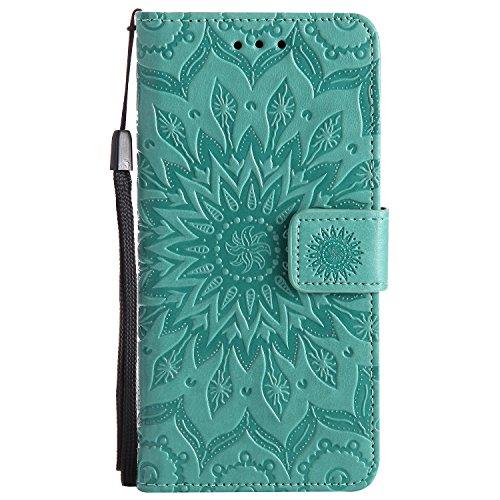 JIALUN-Personality teléfono shell Para Samsung Galaxy J5 2017 Case, TPU / cuero de la PU en relieve patrón de girasol cubierta de la caja con función de billetera y cordón y titular y Kickstand caract Green