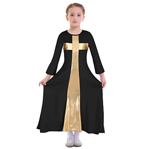 e0f18acffd5 Girl Praise Dance Circle Dress Full Length Christian Long Sleeve Liturgical  Costume Baptism Holy Communion Party