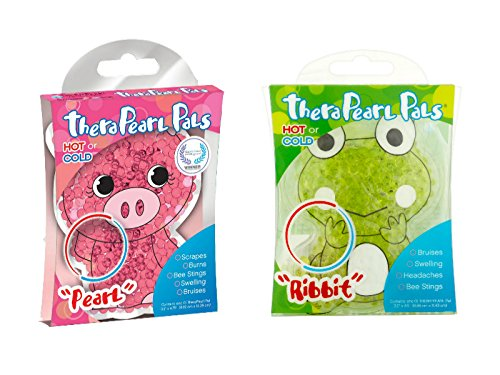- TheraPearl Childrens Pals 2-Pack - Pearl the Pig & Ribbit the Frog - Non-Toxic Reusable Animal-Shaped Hot & Cold Therapy Packs