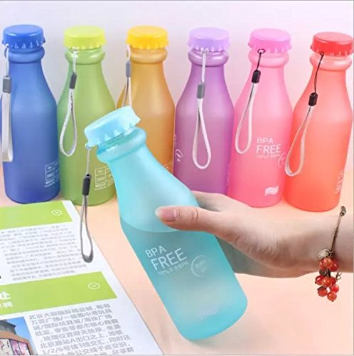 Doyime 550 ml Not Easy Breaking Frosted Bottle With Cover Leak Proof Creative Portable Water Cup Plastic Bottle Glass Light blue