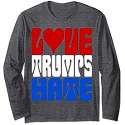 Unisex Retro Love Trumps Hate Patriotic Anti-Trump Original 2XL Dark Heather