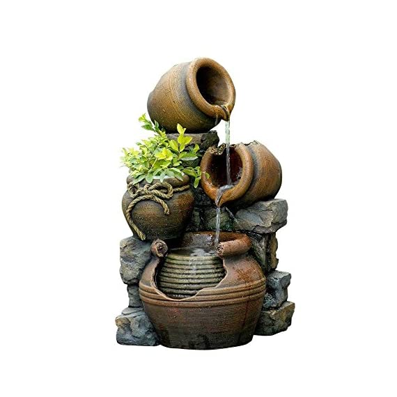 "Jeco FCL055 Multi Pots Outdoor Water Fountain with Flower Pot, 12.6L x 13.4W x 23.6H, Multicolor - Dimensions: 12.6""L x 13.4""W x 23.6""H Durable polyresin & fiberglass construction Holds 2-3 gallon water - patio, outdoor-decor, fountains - 51%2BULlDNnbL. SS570  -"