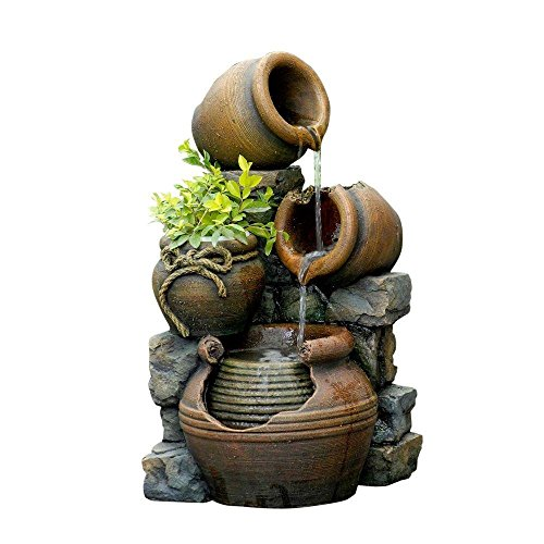 Jeco Inc. FCL055 Outdoor Water Fountain with Flower Pot, 12.6L x 13.4W x 23.6H, - Planter Resin Electric
