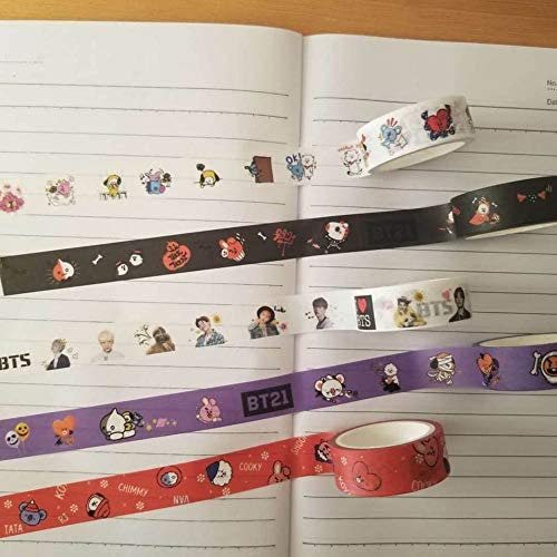 Skisneostype Kpop BTS Ruban adh/ésif BTS Twice Wanna One EXO Noirrose Seventeen Adorable Washi Tape DIY Masking Tape Ruban d/écoratif pour BTS Journal et emballage cadeau Style 01-BTS