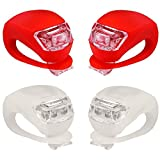 HCDjgh Bicycle Tail Light Battery Powered,Led Silicone Mountain Bike Bicycle Front Rear Lights Set Push Cycle Clip Light Five Generations of Frog (Small) White + Red ღBicycle Light