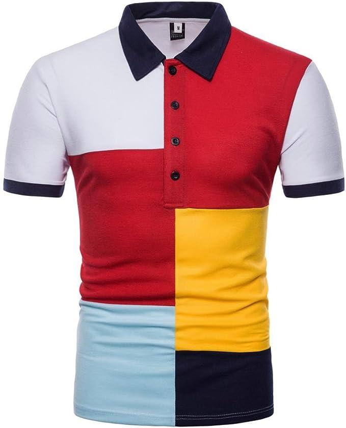 Cinnamou Camiseta Polo para Hombre Manga Corta, Camisetas a Rayas ...