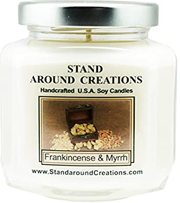 Premium 100% Soy Wax Candle - 6 - oz. Hex Jar- Frankincense And Myrrh: A irresistible blend of bergamot, patchouli, sandalwood, myrrh essential oils. Naturally Strong Scented.