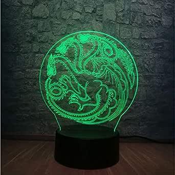 Juego De Tronos Dragón Madre Totem 3D Usb Touch Lámpara Led 7 ...
