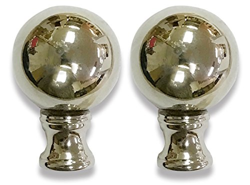 Royal Designs Large Ball Lamp Finial for Lamp Shade- Polished Silver Set of 2 by Royal Designs, Inc
