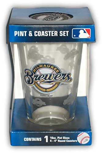 Milwaukee Brewers Pint Glass and Coaster ()