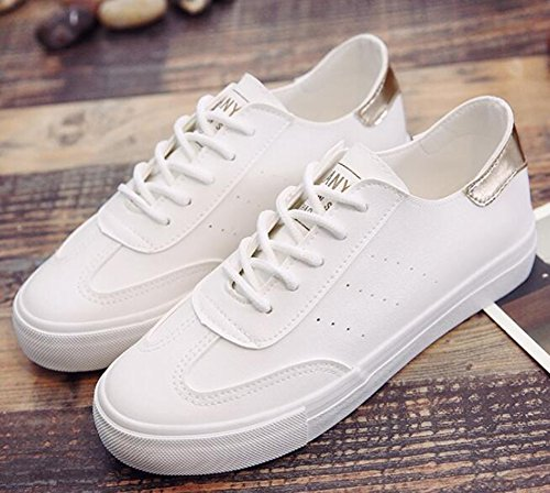 Idifu Mujeres Classic Low Top Flat Lace Up Skateboard Sneakers Blanco 2