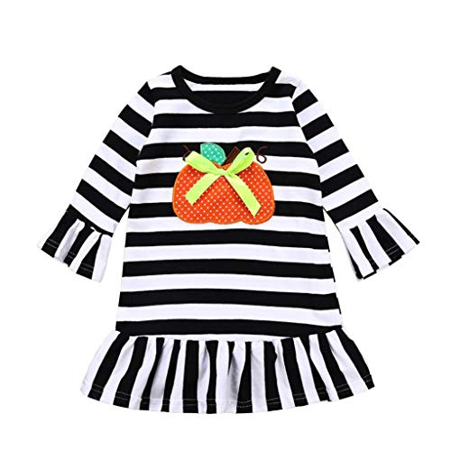 Hipster Baby Girls Halloween Costumes - Winter Long Mandarin Sleeves Pumpkin Stripe Princess Dress Frock (White, 6-12 Months)]()