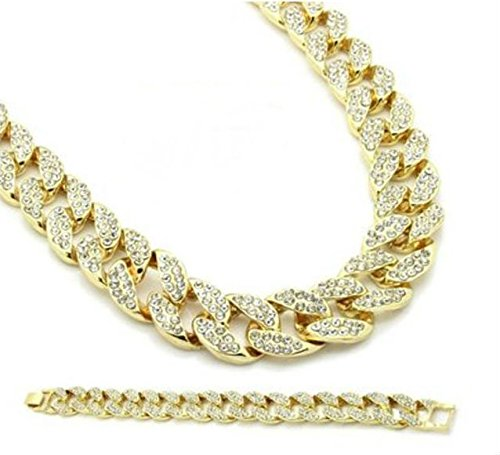 Gold-Tone Iced Out Mens Icy Stones Miami Cuban Necklace Chain and Bracelet Set 30