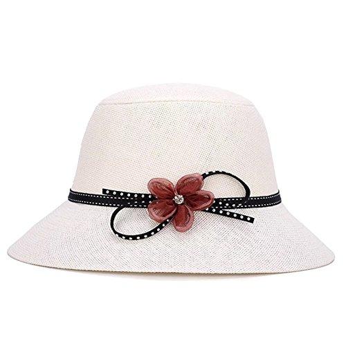Zerci Vintage Womens Straw Cloche Hat Bower Wide Brim Party Hat Beach Hat White