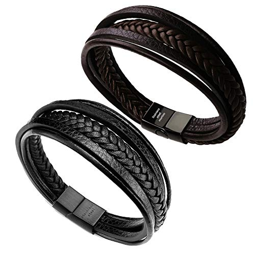 Real Bracelet Leather - murtoo Leather Bracelet Magnetic-Clasp Cowhide Braided Multi-Layer Wrap Mens Bracelet, 7.5-8.7 Inches(Brown,Black 7.5)