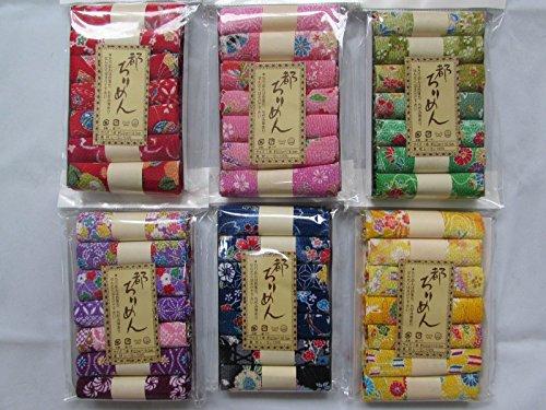 6 Set 42 PC・7 Assort Pre-Cut (8.7 ''× 6.5'') Print Rayon Crepe Japanese Chirimen kimono Quilt Fabric Patchwork by miyako Chirimen