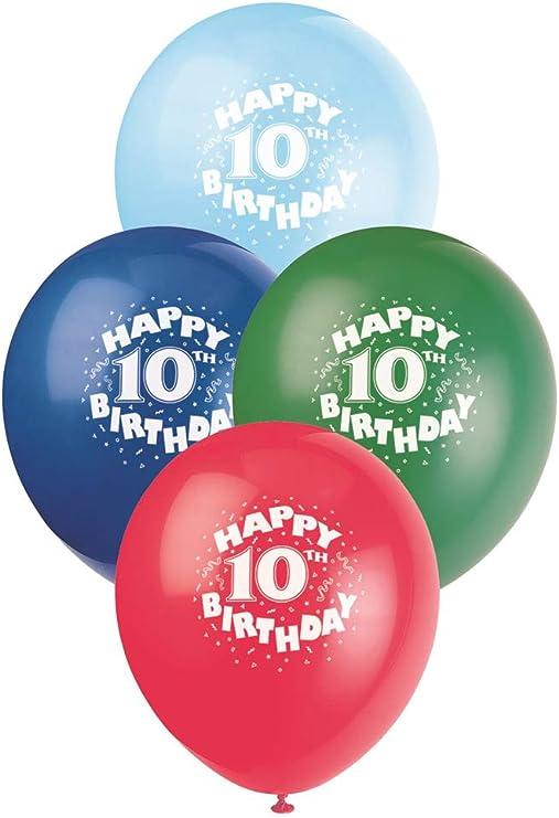 "10 x Happy 10th Birthday 9/"" Latex Balloons Mixed Air Fill Party Decoration Ten"