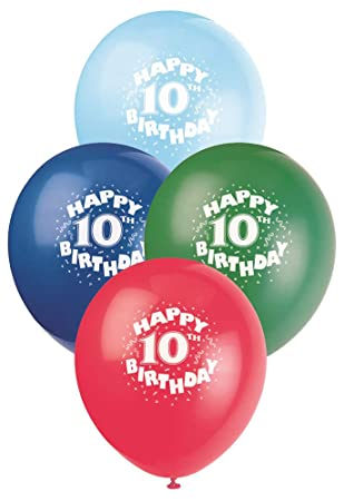 12 Latex Happy 10th Birthday Balloons Assorted 6ct Unique Party Favors Amazonca Home Kitchen
