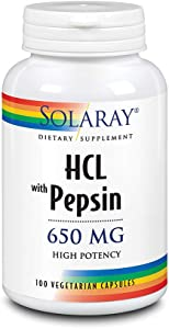 Solaray High Potency Betaine HCL with Pepsin 650 mg | Hydrochloric Acid Formula for Healthy Digestion Support | Lab Verified | 100 VegCaps