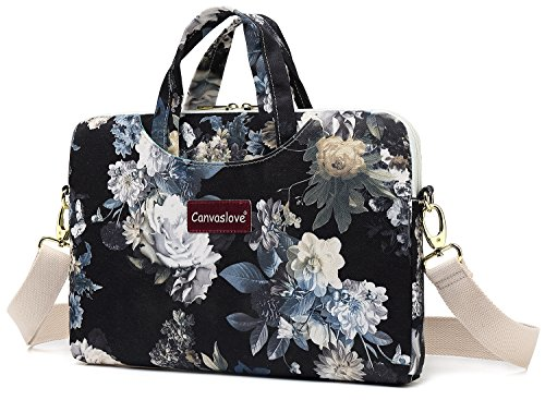 Canvaslove White Flower Waterproof 15 inch Canvas Laptop Shoulder Messenger Bag Case Sleeve for 14 inch to 15.6 inch -