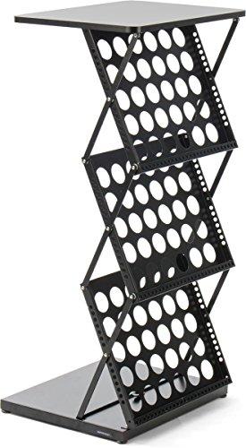 Displays2go Collapsible Magazine Holder, Multiple Pocket, Steel, MDF – Black (6LPBKTBK) by Displays2go