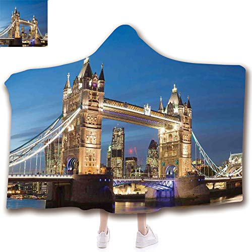 Fashion Blanket Ancient China Decorations Blanket Wearable Hooded Blanket,Unisex Swaddle Blankets for Babies Newborn by,Bridge at Twilight With Skyscrapers England UK,Adult Style Children Style