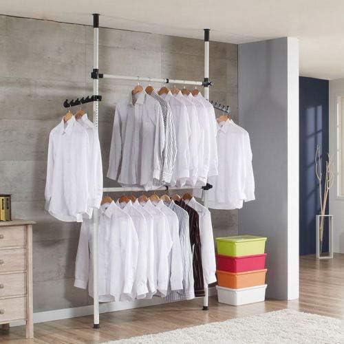 281 a 329 cm Gototop Perchero de 2 barras y 2 barras para colgar ropa y ropa