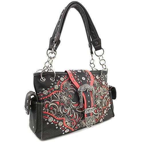 Embroidery Brown Only Handbag Western Buckle Turquoise Floral Handbag Rhinestone Justin Stone West Shoulder Wallet Trifold Bq6w70p0