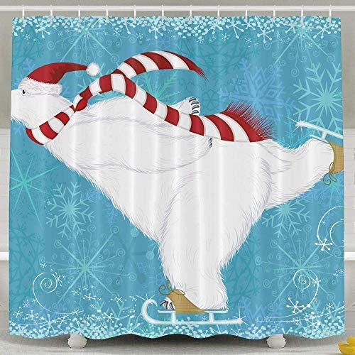 Sonernt Curtain Polar Bear Ice Skating Shower Curtain,Home Indoer Bathroom Decoration Sets with Hooks Shower Bath Curtain,Mildew Durable Waterproof Polyester Curtain - Ice Skating Polar Bear