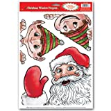 Kitchen & Housewares : Beistle Santa and Elves Peeper Clings, 12-Inch by 17-Inch Sheet