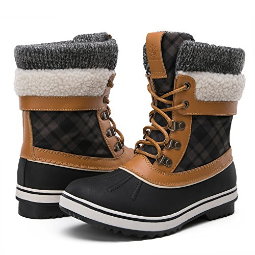 Global Win GLOBALWIN Women's Winter Snow Boots (9 D(M) US Women's, Black/Camel)