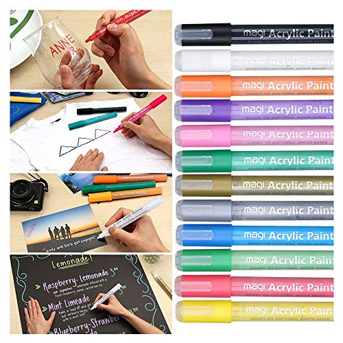 ️ Yu2d ❤️❤️ 12 Acrylic Paint Pen for Ceramic Painting Permanent Acrylic Marker Painting Pen -
