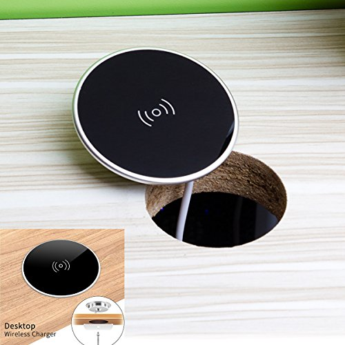 Wireless Charger for Samsung / iPhone X - QI Wireless Charger Grommet Hole In Desk Charging Wireless Qi Charger Charger Installation Desks Conference Tables Counter Tops for Samsung S8, S8 Plus