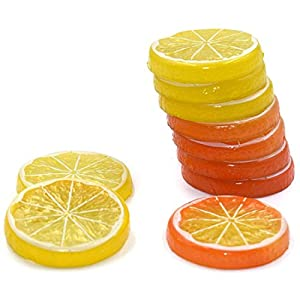 Hagao Fake Lemon Slice Artificial Fruit Highly Simulation Lifelike Model for Home Party Decoration Yellow Orange 10 pcs 3