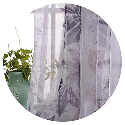 Amazing21 Pastoral Leaves Printed Cotton Linen Curtains for Bedroom for Living Room Sheer Voile Curtains Window Drapes,Tulle,W100Cm X L250Cm,Grommet Top (Best Male Masterbation Methods)
