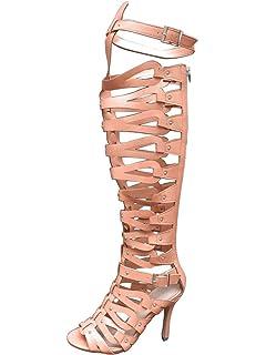 145d37072602 OCHENTA Women s Strappy Over The Knee High Heel Stiletto Gladiator Sandals