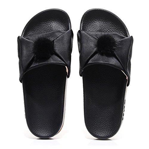 Shoes Pink Mode Sandales UK4 Été 5 EU37 Plates Femme Couleur Taille Sandales Xy® CN37 Bottom 5 Beach Black Pantoufles Extérieure vwBWp