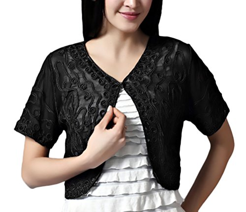 Di Elegante Cocktail Chic Netto Cerimonia Trasparente Pizzo Nero Top Bolerino Festa Filato Party Cardigan Bolero Estive Da Donna Unique 5OnXP