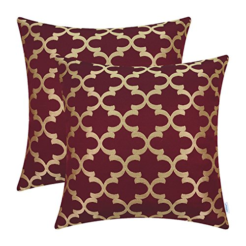 CaliTime Pack of 2 Soft Throw Pillow Covers Cases for Couch Sofa Home Decoration Modern Quatrefoil Trellis Geometric 18 X 18 Inches Burgundy Gold ()