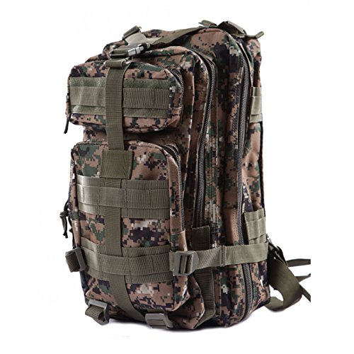 Jungle Fatigue (HDE Military Tactical Backpack Expandable Lightweight 20L MOLLE Outdoor Rucksack Hiking Camping Combat Travel Bag (Jungle Digital Camo ACU))