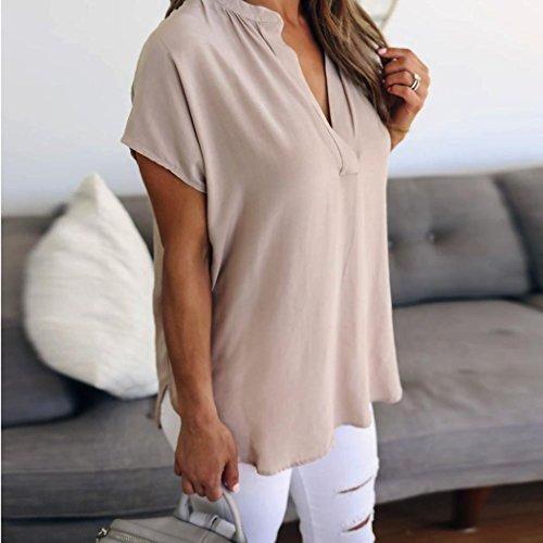 Collo Rcool Casuale Shirt Cachi Corta Sportivo Top Camicetta Manica V Donna Sexy Elegante T Estate Camicia wqX4qaB