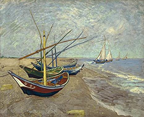 Amazon.com: Wieco Art Fishing Boats on The Beach at Les Saintes Maries Modern Giclee Canvas Prints of Van Gogh Famous Oil Paintings Reproduction Seascape Pictures on Canvas Wall Art Work for Home