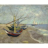 Wieco Art - Fishing Boats on the Beach at Les Saintes Maries Large Modern Framed Giclee Canvas Prints of Van Gogh Oil Paintings Seascape Pictures on Canvas Wall Art for Bedroom Kitchen Home Decor